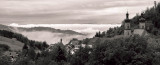 Black Forest - View over the valley of river Rhine towards the Vosges mountains in France