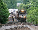 NS 173 crosses the bridge over Pittman Creek.  A new center pier and abutments have been poured at this point  05/18/13