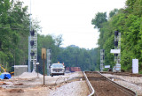New signals in place for the new double track and cross-over at CP Woods