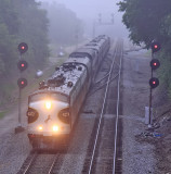 NS 955   passing the searchlight signals at South Danville on a foggy Friday morning.
