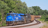 Conrail 8098 brings up the rear of Eastbound 792 as the train wraps around Turtle Tree Curve at Waddy KY