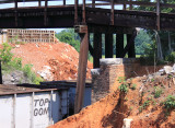 Layers of history. The brick abutment of the first bridge, the current wooden bridge and the new abutment for its replacement