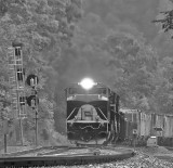 Wabash 1070 brings train 142 off of Kings Mountain during a strong summer storm