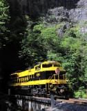 Virginian 1069 on the Stock Creek bridge at Natural Tunnel