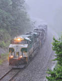 Strong wind and and heavy rain fill the valley at Parkers Lake as Southern 8099 rolls through the cut
