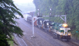Southbound 197 crosses over at Revilo in the middle of a monsoon