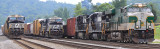 Southern 8099 leads train 197 out of the yard at Burnside Ky, with 2 more Southbounds tied down waiting on rested crews