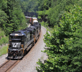 A old GE in new paint leads NS 177 through the cut at Parkers Lake