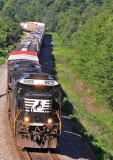 A freshly painted spartan cab D9 leads Northbound 116 down the hill near Parkers Lake