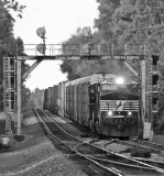23G starts to gain speed after the long climb up Kings Mountain, seen here coming under the signals at Waynesburg