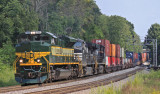 NS 1068, the Erie Heritage unit, brings Westbound 22A up Waddy hill