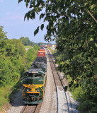 Westbound 22A eases up the main at Waddy after meeting 23G and T-19