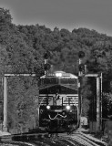 Northbound 57X comes down off the mountain with a empty grain train, seen here at Southfork