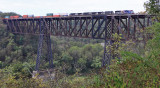 The clouds have taken over as train 376 crosses the Kentucky River at High Bridge