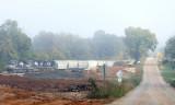 A Southbound grain train rolls through Jones Knob as crews take a break for a few trains to run