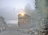 10/12/13 The blasting crew has halted work as 264 rolls through the fog at the cut just South of Pittman Creek