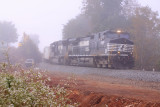 Triplecrown 264 eases through the cut near Pittman creek as the contractors prepare for another blast