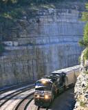 The massive Antioch cut dwarfs train 174 as it twist through the long curve just South of Burnside