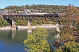 A little fall color is starting to show as train 275 crosses the Cumberland River
