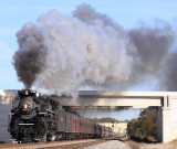 NKP 765 puts on a great show as the train starts the short but steep climb out of Delphi