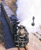 NKP 765 charges upgrade, passing the old Wabash signals at Delphi