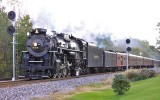 Nickel Plate Road 765 passes the Searchlight signals at CP Colburn (Buck Creek)