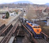 NS 69V crosses over at CP Biltmore in Asheville NC, passing the SR 630's excursion train on the wye