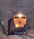 CNJ 1071 leads a 69V empty rock train at Ridgecrest, North Carolina
