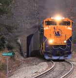 Lady Liberty brings Westbound 69V out of Ridgecrest tunnel after winding through the famous Southern loops from Old Fort