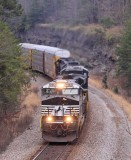 NS 275 comes through the cut at Parkers Lake with almost 12,000 feet of loaded autoracks headed South