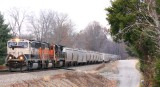 A BNSF possum leads a Southbound NS grain train at Jacobs Loop, just North of Waynesburg