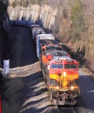 A KCS Southern Belle leads NS 123 through the cut at Kings Mountain