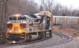 DL&W 1074 brings train 289 around Turtle Tree curve at Waddy KY
