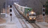 12/28/13   Southbound 285 passes the new Control point at Woods on #1 track  #2 track is still not in service at this point