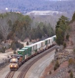 Southbound 285 climbs away from the Cumberland River valley after a crew change at Burnside