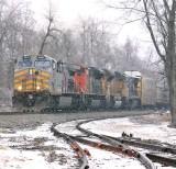 KCS, CN, UP & NS power on train 167 at Moreland