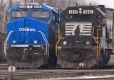 Conrail and the droopy horse.  NS 891 & 276 in the East yard at Danville