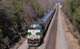 Southern 8099 brings a trainload of happy passengers through Sunbright, TN