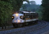 Long before the sun was up, NS 955 eases across the Pittman Creek bridge at Elihu, KY