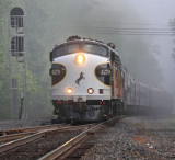 The NS OCS climbs out of the fog at Robbins, TN