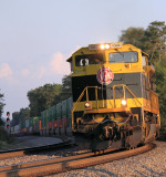 The golden glow of a Kentucky sunset lights up NS 224 at Norwood on the CNO&TP