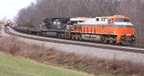 Interstate 8105 leads an empty AK steel train at Waddy