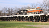 Empty steel train 61R crosses the Elmo Head bridge at Shelbyville