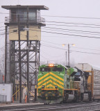 IT 1072 pauses under the tower at Danville, KY on a murky afternoon