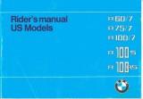 BMW Motorcycle R60/7,  R75/7, R100/7, R100S, R100RS  Owner's Manual