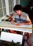 Me working on a plan as a student in the mid 1980´s