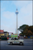 Two former east german icons,Trabi and the Fernsehturm......