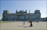 Eva in segway-traffic.The Reichstag,Berlin......