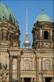 Tv-tower between spires on Berliner Dom....