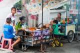 Foodstalls alongside the khlong